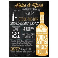 Stock+The+Bar+Typography+Engagement+Party+Invitations