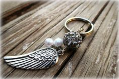 Angel Wing KeyChain Angel Wing Silver Keychain by sparklingtwi, $14.00