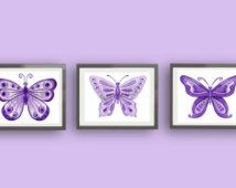 butterfly nursery art, purple bedding artwork, girls nursery art, lavender bedroom art, art for kids