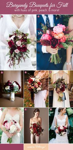 Burgundy Bouquets for Fall Weddings in Rich Hues of Pink, Peach