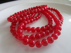 138 round Glass Beads deep red COLOR 4mm bead by LeeliaDesigns