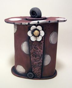Polka Dot Clay Studio - Brown Canister.
