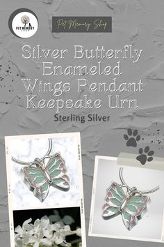 This Silver Butterfly Enameled Wings Pendant Keepsake Urn is fillable through a screw at the back. Engraving is limited to three characters per side (engraving is not included). Pet Memorial Jewelry, Film Story, Keepsake Urns, Pet Loss, Pet Memorials, Pet Gifts, Wings, Enamel, Butterfly