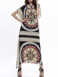 455a3e2d6f3 Beautiful Floral-Print Short Bat Sleeve Bohemia Beach Maxi Dress