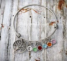 Charm Bangle - Mother - Personalized Bracelet - Grandmother - Adjustable - Birthstone - Gigi - Grandma - Family Tree - Tree of Life
