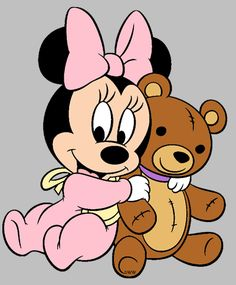 Baby Minnie Mouse hugging her teddy bear. :)- Baby Minnie Mouse hugging her teddy bear. 🙂 Baby Minnie Mouse hugging her teddy bear. Minnie Mouse Clipart, Minnie Mouse Stickers, Mickey E Minnie Mouse, Minnie Mouse Birthday Outfit, Disney Clipart, Minnie Png, Mickey Birthday, Art Clipart, Disney Mickey