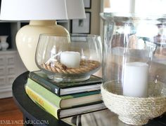 love the rope at the bottom of the vase from emily a clark design