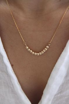 Gold Ball Necklace Dainty Gold Necklace Silver Ball Necklace Gold Chain Necklace Layering Necklace Everyday Necklace Gift For Her. Dainty Gold Necklace, Silver Necklaces, Silver Jewelry, Jewelry Necklaces, Gold Bracelets, Gold Earrings, Amber Earrings, Simple Bracelets, Feather Earrings