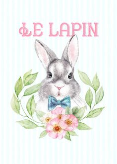 Free Printable Art, Free Printables, Loro Animal, Bunny Drawing, Party Banners, Scrapbook Paper, Rabbit, Spring, Drawings