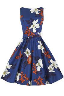 Japanese Blue Floral Tea Dress : Lady Vintage