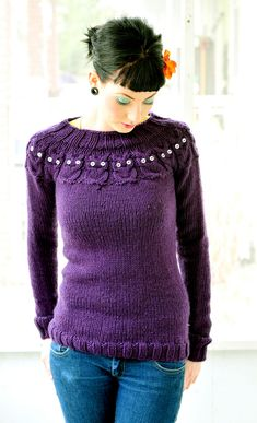 https://flic.kr/p/67fk1w | owl sweater | I finished this last week, and I finally got the buttons for the eyes!  So happy with the way it turned out!   Knitted on US 10, circulars. I used 6 skeins of Galway Chunky yarn, colorway 13 (purple).  Pattern from ravelry.com  Started : 3. 3.09 Finished : 3. 7. 09  <3