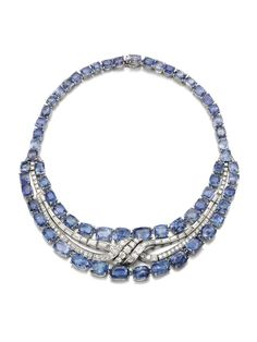 2   11 The cool tone of these sapphires adds an extra touch of glamour to this 1950s necklace. Sapphire and diamond necklace. Sold for £35,000 (US$52,840) at Sotheby's London.