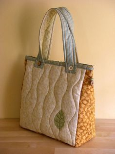 Summer Leaf bag - back   by PatchworkPottery