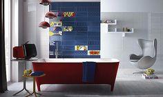 Carrelage Faïence Pop de Imola, Salle de Bains, Motifs Pop-Art Lichtenstein