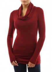 Stylish Cowl Neck Solid Color Long Sleeve T-Shirt For Women - WINE RED