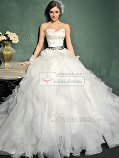 Princess Organza Sweetheart  Wedding Dress Strapless Lace-up Sweep Rhinestone Beading Wedding Dresses