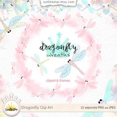 Dragonfly Digital Clipart: Instant Download, digital frame clipart, cute clipart, garden clipart, dragonfly graphics, kids baby clip art by SunlikeStar on Etsy