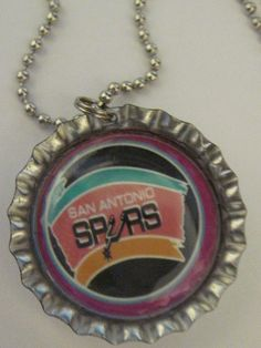 Hand made San Antonio Spurs bottle cap necklace made in USA #Handmade #Pendant