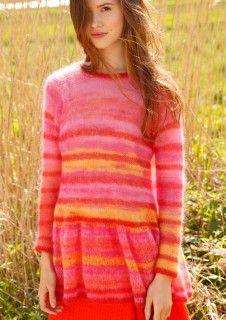 Pink, Rot und Orange, dieser Ringelpullover mit Schößchen wird mit ggh-Garn KID-SEDA gestrickt, Garnpaket zu Modell 3 aus Rebecca Nr. 59