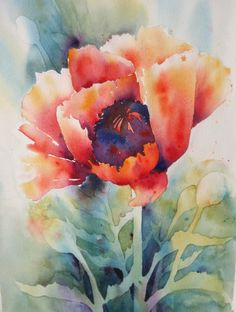 Poppy sm by Yvonne Joyner Watercolor ~ 20 x 16
