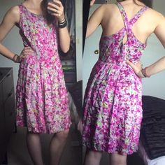 Eva Franco - Floral Dress with Cross Back Floral dress by Eva Franco. Selling because it is too big for me. Size 4. So perfect for spring!!! Eva Franco Dresses