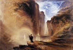 John Martin, 1789-1854, Manfred and the Alpine Witch, Watercolour, 1837, Whitworth Art Gallery, Manchester, UK   In this painting Martin turned to a literary theme: the poem by Lord Byron in which Manfred is condemned to eternal life without sleep. He calls upon the witch to find peace, but she demands his soul, and so he dismisses her.