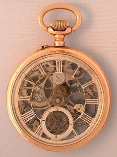 Swiss skeletonized 14K gold antique pocket watch circa 1890  ♥♥♥♥