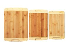 Organic Bamboo Cutting Board 3 Piece Set  For Food Prep Cutting Vegetables Meat Bread  More  Two Tone Design  Grooved Handles >>> Details can be found by clicking on the image.Note:It is affiliate link to Amazon.
