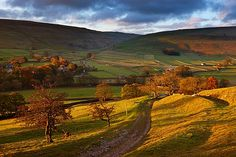 Poster Print-First light on the autumn colours at Arncliffe in Littondale, Yorkshire Dales National Poster sized print made in the USA Cornwall England, Yorkshire England, Yorkshire Dales, Skye Scotland, Highlands Scotland, Autumn Nature, English Countryside, Lake District, Nature Pictures