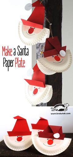 """DIY Basteln mit Kindern: Bastelidee """"Weihnachtsmann"""" aus Papptellern – Bastelspa… DIY crafts with children: Crafting idea """"Santa Claus"""" from paper plates – crafting fun for Christmas"""