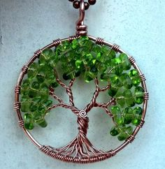 Copper and Czech Glass Tree of Life Pendant by ethora on Etsy