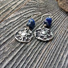 Silver Flower Earrings/ Silver Earrings with Lapis/ Unique Earrings/ Gemstone Earrings/ Dangle Earrings/ Boho Earrings/ Beaded earrings