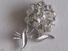Floral Bouquet Brooch Pin SilverTone Clear by RicksVintagePlus, $24.00