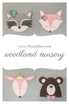 Adorable felt wall art for baby girls nursery.  These beautiful woodland creatures each with their own special accessory will add the perfect finishing touch to your little girls bedroom. #nurserydecor #woodlandnursery #giftforgirls Woodland Nursery Decor, Baby Nursery Decor, Nursery Wall Art, Girl Nursery, Girls Bedroom, Woodland Theme, Baby Bedroom, Baby Girl Gifts, Baby Girls
