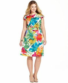 Spense Plus Size Cap-Sleeve Floral-Print A-Line Dress. Cutest dress ever, cannot wait to try it on.