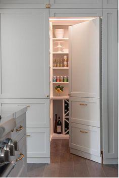 Kitchen Cabinets Design Layout, Grey Kitchen Cabinets, Shaker Cabinets, Kitchen Reno, Kitchen Remodel, Hidden Pantry, Hidden Kitchen, New Kitchen Designs, Kitchen Ideas