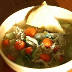 Chicken Soup Allrecipes.com, added noodles and celery along with chicken bouillon cubes, excellent