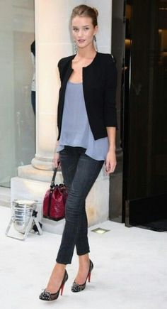 Love a long silk top under a cropped jacket paired with jeans.