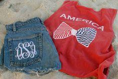 monogrammed jean shorts