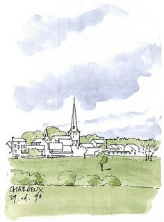 Charneux, village