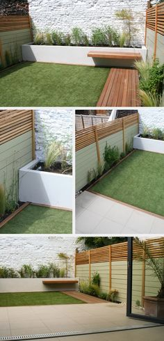 small garden with a balance of deck, fake grass and planters. might have nailed it!