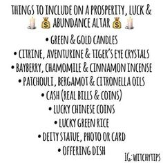 Witchy Tips : Prosperity, Luck & Abundance Altar Green Witchcraft, Magick Spells, Hoodoo Spells, Good Luck Spells, Prosperity Spell, Witchcraft For Beginners, Eclectic Witch, Money Spells, Witch Aesthetic