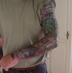 haunted mansion tattoo | Adeles SpOOky Art: Haunted Mansion Tattoos Full Sleeve Finished