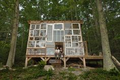 In 2012 this couple quit their jobs and set off to build a glass cabin in the mountains of West Virginia. In 2012 this couple quit their jobs and set off to build a glass cabin in the mountains of West Virginia Recycled Windows, Old Windows, Reclaimed Windows, Vintage Windows, Recycled House, Recycled Glass, House Windows, Recycled Door, Antique Windows