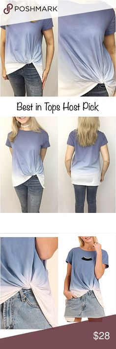"""✂️PRICECUT✂️Ombré Twist Front Soft Tee Top SML I'm in love with ombré clothing...especially this little indigo blue & ivory soft ombré graphic tee with a twisted front (great to camoflauge tummy) Wear with denim jeans, shorts, skirt or leggings. Nice flowy, slouchy relaxed fit. Absolutely a must have this season...you will want to live in it!!  55% cotton 45% polyester SML  Small 2/4 Bust 32-36 Length 28"""" Medium 6/8 Bust 36-40 Length 28.5"""" Large 10/12 Bust 40-42 Length 29"""" Tops"""