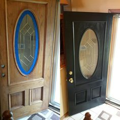Ideas new front door ideas dream houses Entry Doors With Glass, Front Doors With Windows, Double Front Doors, Glass Cabinet Doors, Glass Front Door, Front Door Paint Colors, Painted Front Doors, Paint Colors For Home, Mobile Home Doors