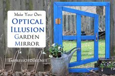 City Gardening DIY Optical Illusion Garden Mirror - How to make an optical illusion garden mirror for a really cool effect in your yard. This inexpensive project can be made with thrift shop materials. Recycled Garden Art, Garden Crafts, Garden Projects, Diy Projects, Mirror Illusion, Garden Mirrors, Dream Garden, Optical Illusions, Garden Planning