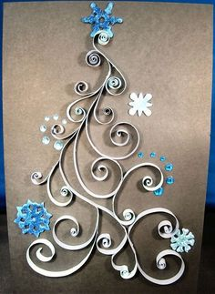 Quilled Christmas Tree: this would be a great paper quilling pattern for a Christmas card.