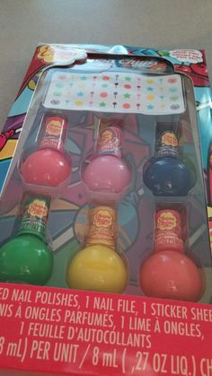 My Chupa Chups Nail Polish Set With Nail Stickers That My Mom Got For Me For My Birthday Today!😄😊☺😉😍😘❤💜💙💚💛💗💘💞💖💕💓💌💋💎💍👣💝🎍🎂🍰🎋🎉🎊🎈🎁💝🎍