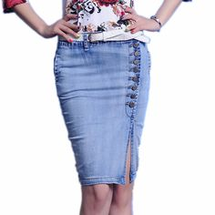 2016 Brand Female Retro Pencil Skirt Womens Summer Plus Big size XXL Breasted Faldas Light Blue Package hip Denim Jeans Skirts-in Skirts from Women's Clothing & Accessories on Aliexpress.com | Alibaba Group